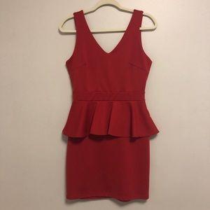 Charlotte Russe Red V-Neck Low Back Peplum Dress